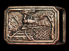 LL15169 VINTAGE 1975 STEAM TRAIN LEAVING TUNNEL SOLID BRASS RAILROAD BELT BUCKLE