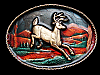 MA03139 **NOS** VINTAGE 1980 DEER RUNNING THROUGH FOREST BELT BUCKLE