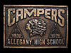 MA07159 VINTAGE 1976 ALLEGANY HIGH SCHOOL CAMPERS BELT BUCKLE
