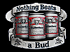 MA13163 VINTAGE 1992 *NOTHING BEATS A BUD* BEER BELT BUCKLE