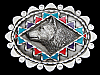 MA17120 VINTAGE 1996 **WOLF'S HEAD** SOUTHWESTERN DESIGN PEWTER BELT BUCKLE