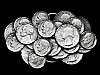 MA17125 VINTAGE 1979 NICKELS, DIMES, & QUARTERS COIN ART COLLAGE BELT BUCKLE