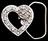 LL10177 *NOS* VINTAGE 1993 SMALL ***CUT-OUT HEART w/ ROSE INSIDE*** BELT BUCKLE