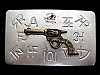 MB05166 VINTAGE 1970s SIX-SHOOTER GUN & RANCH BRANDINGS WESTERN BELT BUCKLE