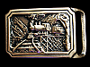MB17132 VINTAGE 1975 TECH-ETHER **TE EXPRESS** RAILROAD SOLID BRASS ART BUCKLE