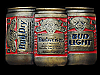 MF07160 VINTAGE 1992 BUD DRY BUDWEISER & BUD LIGHT BEER CANS BELT BUCKLE