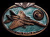 MF29101 VINTAGE 1988 MCDONNELL DOUGLAS F-15 EAGLE FIGHTER AIRCRAFT BELT BUCKLE