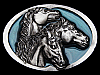 MF29105 REALLY NICE VINTAGE 1993 THREE HORSES BELT BUCKLE