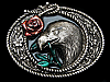 MG01113 VINTAGE 1994 BALD EAGLE W/ ROSE IN MOUTH BELT BUCKLE