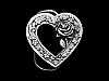 MH07154 *NOS* VINTAGE 1993 CUT-OUT **ROSE & HEART** FASHION BELT BUCKLE