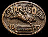 MG30121 GREAT NFR ***1977 NATIONAL FINALS RODEO*** HESSTON COLLECTOR BUCKLE