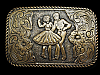 MI03160 VINTAGE 1970s **SQUARE DANCING COUPLE** CRUMRINE WESTERN BELT BUCKLE