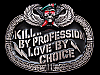 MI09104 VINTAGE 1984 *KILL... BY PROFESSION LOVE BY CHOICE* MILITARY BELT BUCKLE