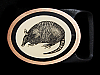 MI13163 *NOS* VINTAGE 1981 *ARMADILLO* TECH-ETHER GUILD ART SOLID BRASS BUCKLE