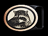 MI13164 *NOS* VINTAGE 1981 *RACCOON* TECH-ETHER GUILD ART SOLID BRASS BUCKLE