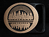 MI25163 *NOS* VINTAGE 1975 **ECHO** TECH-ETHER GUILD SOLID BRASS ART BELT BUCKLE