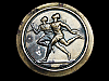 MJ09122 VINTAGE 1977 **RUNNERS CROSSING FINISH LINE** SPORTS BELT BUCKLE