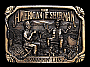 NA21103 VINTAGE 1986 *THE AMERICAN FISHERMAN SWAPPIN' LIES* FISHING BELT BUCKLE