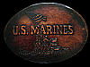 NA23104 *NOS* VINTAGE 1983 **U.S. MARINES** LEATHER MILITARY BELT BUCKLE