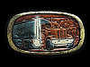 NA29163 VINTAGE 1983 **18-WHEEL SEMI-TRUCK** LEATHER BELT BUCKLE