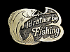 NB01125 *NOS* VINTAGE 1970s **I'D RATHER BE FISHING** BELT BUCKLE