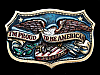 NB09107 VINTAGE 1984 **I'M PROUD TO BE AMERICAN** PATRIOTIC BELT BUCKLE