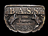 NB25129 VINTAGE 1990 **BASS ANGLERS SPORTSMEN SOCIETY** FISHING BELT BUCKLE