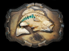 ND05135 VINTAGE 1970s **LARGE MOUTH BASS** FISHING BELT BUCKLE