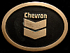 NE04160 *NOS* VINTAGE 1970s ***CHEVRON*** LOGO SOLID BRONZE OILFIELD BELT BUCKLE