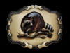 NE07135 *NOS* VINTAGE 1978 **RACCOON ON BRANCH** WILDLIFE & NATURE BELT BUCKLE
