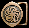 NE08139 RARE EARLY 1970s TECH-ETHER **PINWHEEL** SOLID BRASS ARTWORK BUCKLE