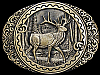 JC01153 GREAT VINTAGE 1970s AWARD DESIGN **ELK IN FOREST** SOLID BRASS BUCKLE
