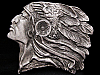 JE31132 VINTAGE 1970s IMC CUT-OUT **INDIAN CHIEF W/ HEADDRESS** PEWTER BUCKLE