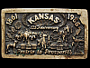 JE31138 VINTAGE 1986 **KANSAS** 125th ANNIVERSARY SOLID BRASS BELT BUCKLE