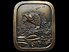 JF11149 GREAT VINTAGE 1976 IMC **HOOKED LARGE MOUTH BASS** BRASSTONE BELT BUCKLE