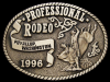 JF27158 *NOS* 1996 **PROFESSIONAL RODEO PUYALLUP, WA** SOLID BRASS BELT BUCKLE