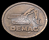 JH20117 VINTAGE 1970s **DEMAG TRACKHOE** HEAVY EQUIPMENT BRASSTONE BELT BUCKLE