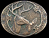 JK10148 GREAT 1980s AWARD DESIGN **BUCK & DOE DEER*** SOLID BRASS BELT BUCKLE