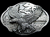 JL09102 *NOS* VINTAGE 1989 **BALD EAGLE FLYING OVER TREES** PEWTER BELT BUCKLE