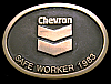 NH02115 VINTAGE 1983 **CHEVRON** SOLID BRONZE ENERGY SAFE WORKER AWARD BUCKLE