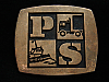 NH03119 VINTAGE 1970s **PS** TRANSPORTATION & SHIPPING SOLID BRONZE BELT BUCKLE