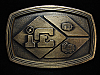 OA01149 *NOS* VINTAGE 1970s **IE** UNKNOWN COMPANY BRASSTONE BELT BUCKLE