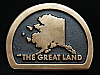 OB19125 VINTAGE 1970s **ALASKA THE GREAT LAND** SOLID BRASS BELT BUCKLE