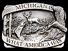 IG27131 VINTAGE 1983 ***MICHIGAN*** IS WHAT AMERICA WAS PEWTER BUCKLE