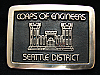 OE19131 *NOS* VINTAGE 1970s **CORPS OF ENGINEERS SEATTLE** SOLID BRONZE BUCKLE