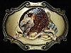 OE25116 VINTAGE 1970s **RACCOON** COMMEMORATIVE BRASSTONE RAINTREE BELT BUCKLE
