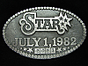 OE25165 VINTAGE 1982 **STAR JULY 1, 1982** UNKNOWN CATEGORY PEWTER BELT BUCKLE