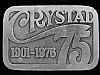 OF01112 VINTAGE 1970s **CRYSTAL 1901-1976 75 YEARS** COMMEMORATIVE PEWTER BUCKLE