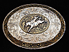 OF01163 VINTAGE 1970s **BRONC RIDER** RODEO TROPHY CRUMRINE WESTERN BELT BUCKLE