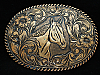 OI19173 VINTAGE 1970s **HORSE & FLORAL ORNAMENTAL** SOLID BRONZE BELT BUCKLE